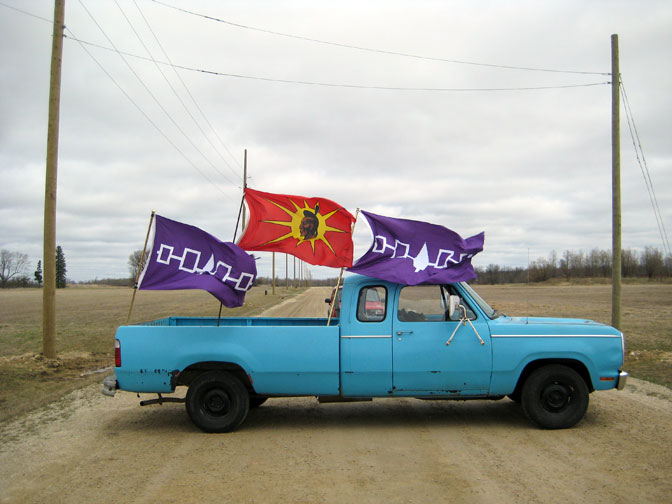 Big Blue, blockading the Eco Parkway in Dundalk, Ontario, Canada.